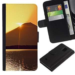 Planetar® Modelo colorido cuero carpeta tirón caso cubierta piel Holster Funda protección Para Samsung Galaxy S5 Mini / SM-G800 (Not For S5!!!) ( Sunset Beautiful Nature 60 )