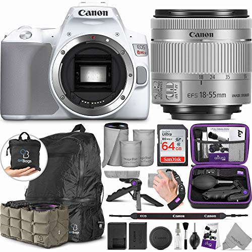 Canon EOS Rebel SL3 White DSLR Camera with 18-55mm Lens with Altura Photo Advanced Accessory and Travel Bundle