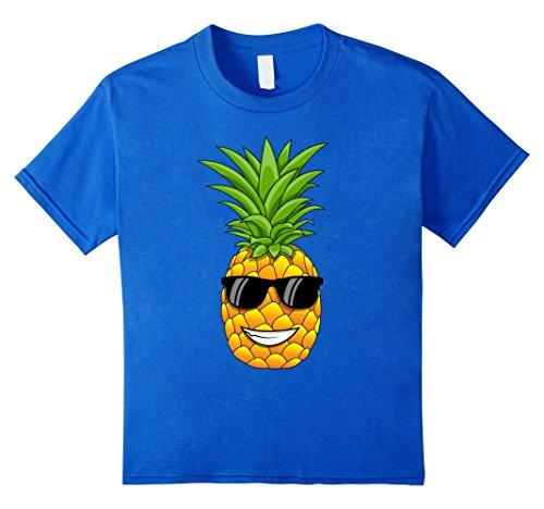 Kids Hawaiian Pineapple T-Shirt with Sunglasses - Cool Tee Shirt 6 Royal Blue - Jealous Girls T-shirt