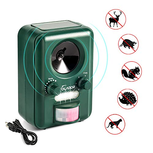Volador Cat Repellent, Animal Repeller, Ultrasonic Solar Battery Powered Waterproof Garden Pet Deterrent With Motion Sensor and Flashing Light for Cats, Dogs, Bird, Squirrels, Moles, Rats.