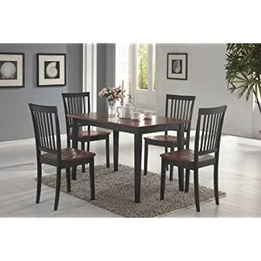 Coaster 5-piece Dining Set, Table Top with 4 Chairs, Deep Cappuccino with Cherry Tops