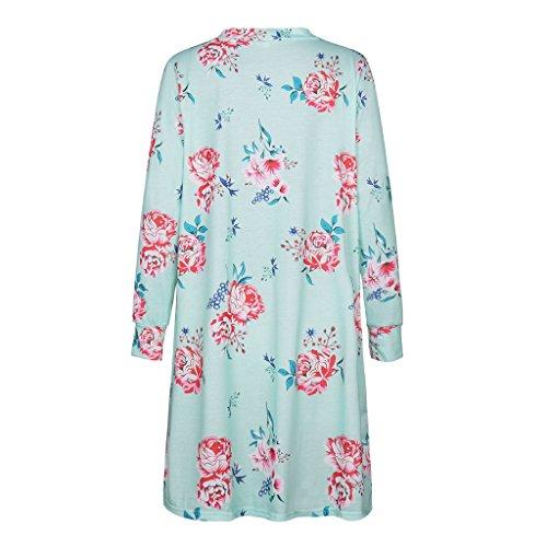Veste Longue Femme - Highdas Manteau à Long Sleeve Imprimé Fleur Casual vert S