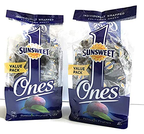 Sunsweet Ones Individual Pitted Prunes - 2 PACKS (12 oz each) of Individually Wrapped Dried Prunes PLUS Our Prune Recipe E-Book - Plums Plum Sunsweet Dried