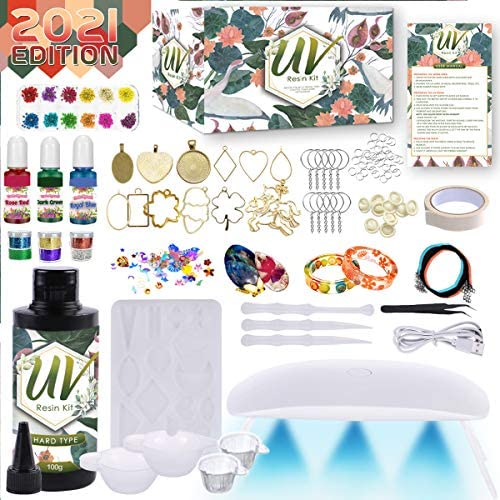 Catcrafter Epoxy Resin Set For Beginners - UV Light Crystal Clear Mold Starter Kit Jewelry Necklace Bracelet Keychains Making Accessories Tools Keychain Casting Molds Easter Gift Home Office Decor