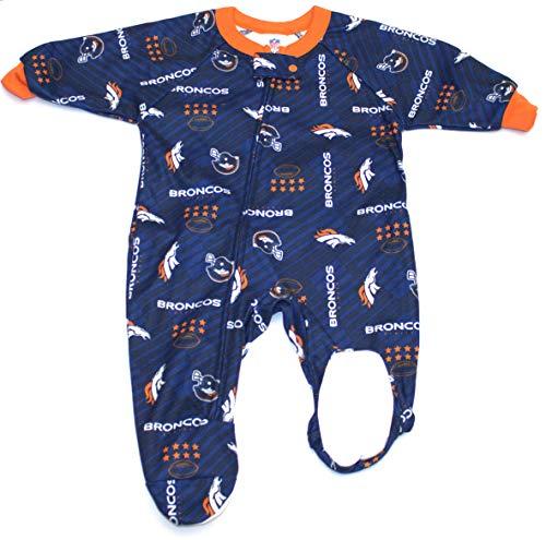 (NFL Denver Broncos Unisex-Baby Blanket Sleeper, Blue, 12 Months)