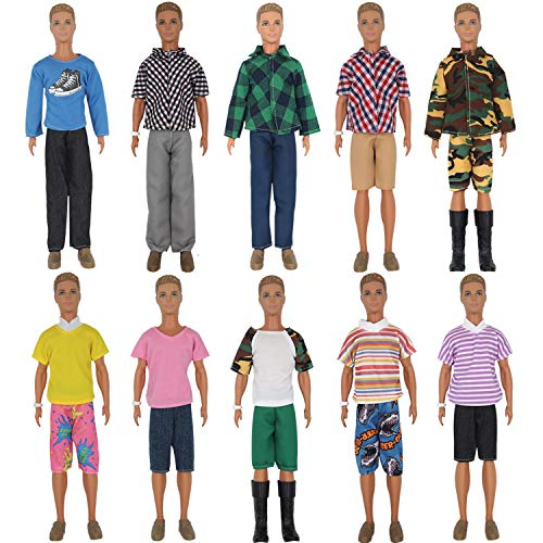 - ZTWEDEN 20 Pcs Doll Clothes for Ken Doll Include 10 Different Set Wear Clothes Shirt Jeans Beach Shorts for Ken Barbie Doll