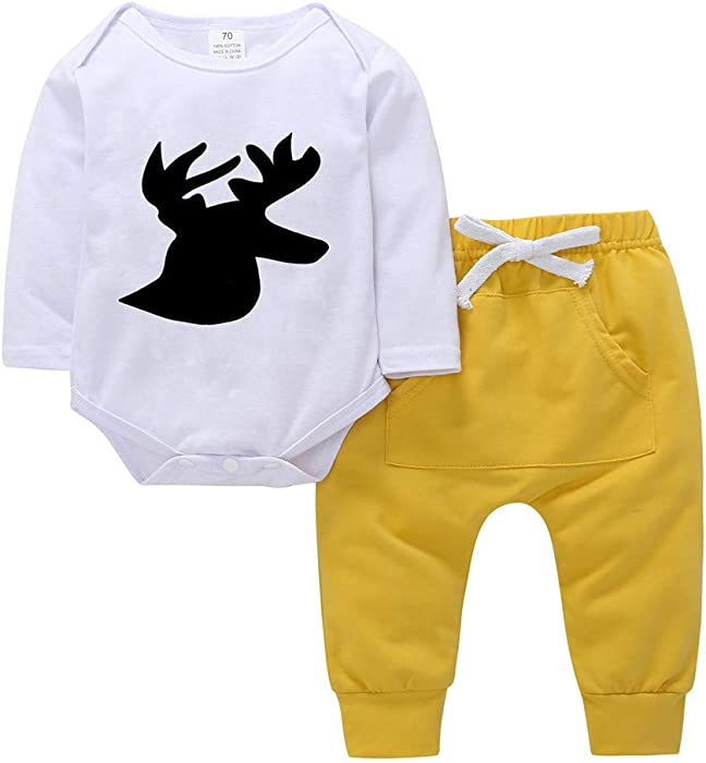 e2dcf65fba3 Amazon.com  ❤ Mealeaf ❤ Toddler Outfits Baby Boys Girls Romper Deer Print  Jumpsuit Tops + Pants Clothes Set 0-3t  Clothing