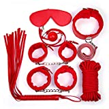7Pcs/Set Sex Bondage Kit Slave Sexy Product Adult Games Toys Hand Cuffs Foot Cuff Whip Rope Blindfold Couples Erotic Toys Red