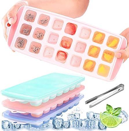 ✔ Apilable cubitera hielo con tapas: las tapas de las bandejas de cubitos de hielo son muy prácticas