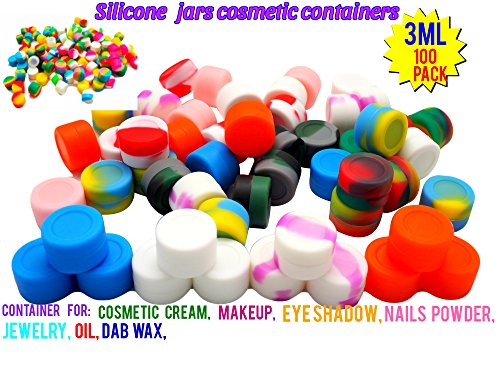 3ML silicone non stick wax container Food Grade Silicone Oil Kitchen Container Small Wax Oil Containers silicone Container for Cosmetic Cream Pot Makeup Eye Shadow Nails Powder Jewelry (100, 3ML)
