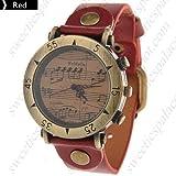 Reloj de pulsera para hombre y mujer, estilo retro, diseño único, correa de cuero sintético, color rojo