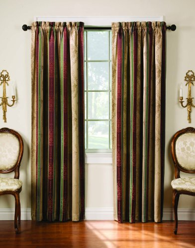 Thermatec Tuscan Stripe Scroll Stripe Jacquard Blackout Rod Pocket Panel, 52 by 84-Inch, Autumn, Pack of 2, Sold as Pair