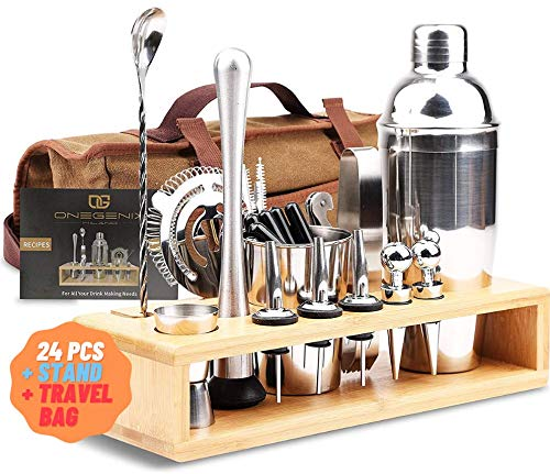 Cocktail Shaker Set Bartender Kit 24 pcs w/ Stand & Travel Bag   Complete Bartendering Kit Stainless Steel   Home Bar…