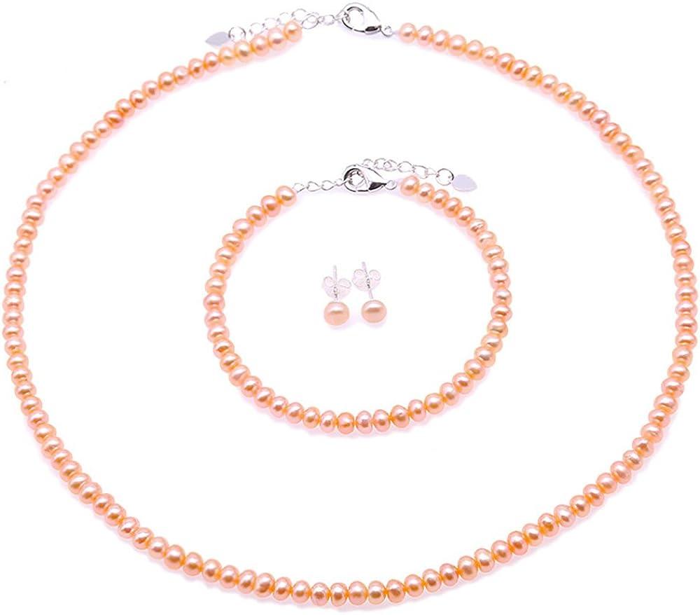 JYX Juego de Collar de Perlas Juego de Collar y Pulsera de Perlas de Agua Dulce Rosa de 4-5 mm