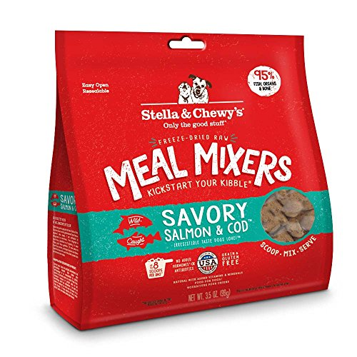 Stella & Chewy's Freeze-Dried Raw Savory Salmon & Cod Meal Mixers Grain-Free Dog Food Topper, 3.5 oz. bag