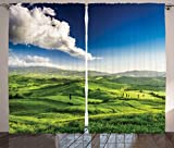 picture sun shade - Ambesonne Room Decorations Collection, Valley at Sunset Tuscany Farmhouse Getaway Villa Meadow Cultivated Land Picture, Living Room Bedroom Curtain 2 Panels Set, 108 X 90 Inches, Green Blue White