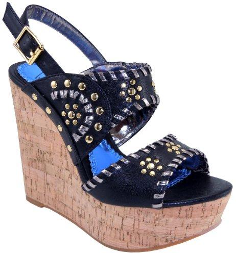 Luichiny Women's Mama Mia Wedge Sandal,Black,9 M US Luichiny Womens Wedge Shoes