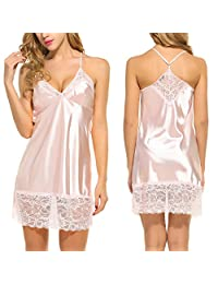 Avidlove Sexy Lingerie Women's Sleepwear Satin Lace Chemise Nightgown