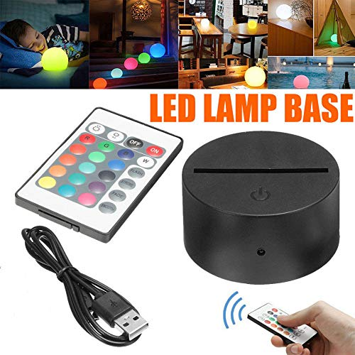 LED Lamp Bases for 3D Led Night Light, ABS Acrylic Black 3D LED Lamp Night Light Base Tough+USB Cable+Remote Control