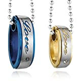 Dancing Stone Men's Women's 2PCS Stainless Steel Pendant Necklace Set Couple Ring Love