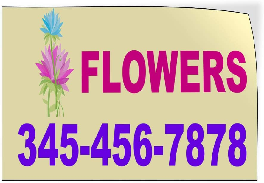 Custom Door Decals Vinyl Stickers Multiple Sizes Flowers Phone Number Business Flower Outdoor Luggage /& Bumper Stickers for Cars Pink 20X14Inches Set of 10