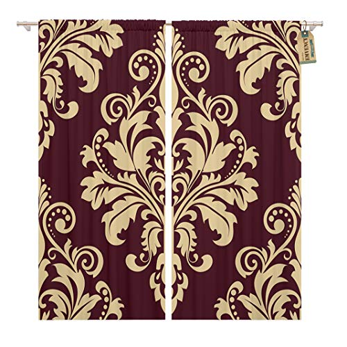 - Golee Window Curtain Luxury Floral Pattern Baroque Damask Gold and Black Red Home Decor Rod Pocket Drapes 2 Panels Curtain 104 x 63 inches