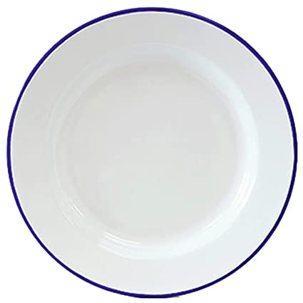 Enamelware Dinner Plate -Solid White with Blue Rim  sc 1 st  Amazon.com & Amazon.com | Enamelware Dinner Plate -Solid White with Blue Rim ...