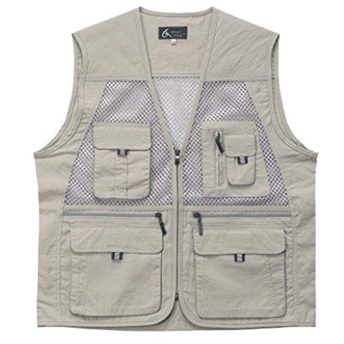 myglory77mall Mens Multi Pockets Fly Fishing Hunting Mesh Vest Outdoor Jacket Wang