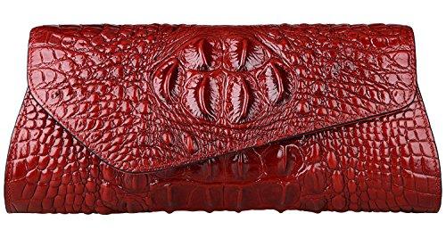 Womens Red 5001 Crossbody Genuine Evening Clutch Purse Handbag Leather PIJUSHI qxwUgv1WTx