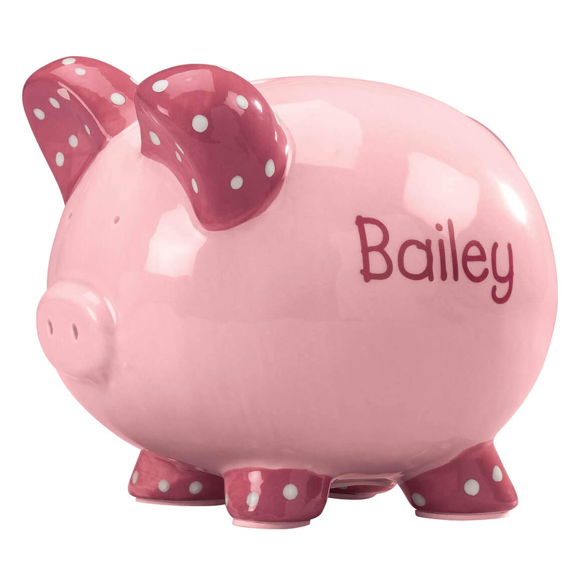 Personalized Kid's Font Piggy Bank - Pink by Miles Kimball