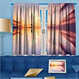 SCOCICI1588 Room Darkening/Thermal Insulated Rod Pocket Window Curtains Dream mirror travel Set of Two Panels W84'' x L84'' Pair