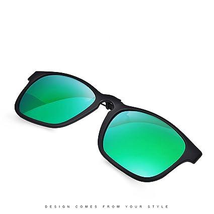 Clip – en Flip Up gafas de sol, lente de cristal de conducción Classic con marco TR90 polarizadas gafas, hombre, verde