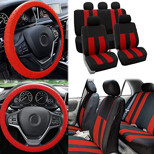 FH Group Striking Striped Seat Covers Airbag & Split Ready w. Silicone Steering Wheel Cover, Red/Black Color- Fit Most Car, Truck, SUV, or Van - Dodge Neon Hubcap
