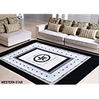 Rustic Western Rug in a Bag with Lone Star State Texas Stars Black and Grey Rug in Bag 6ft x 9ft