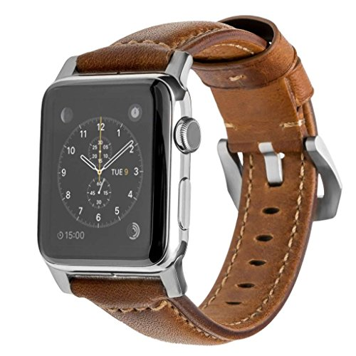 Nomad Horween Leather Strap for Apple Watch - 42mm Traditional Build - Classic Bold Look - Custom Stainless Steel Lugs and Buckle - Silver Hardware by Nomad