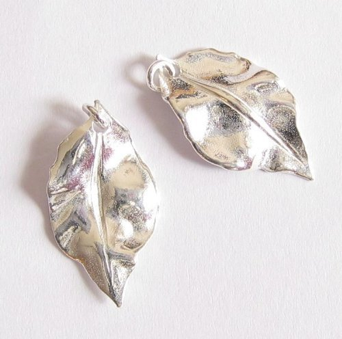 2 pcs .925 Sterling Silver Leaf Charm Pendant 10.1mmx 19.5 W/Jump Ring/Findings/Bright Coral Necklace 925 Silver Clasp
