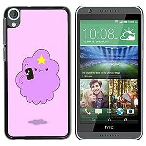 Nube Rosa divertido estrella linda criatura- Metal de aluminio y de plástico duro Caja del teléfono - Negro - HTC Desire 820