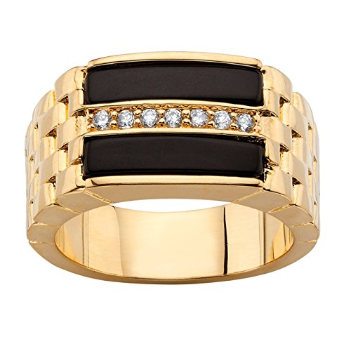 Pave Black Onyx - Palm Beach Jewelry Men's Genuine Black Onyx CZ 14k Gold-Plated Buff Top Ring Size 8