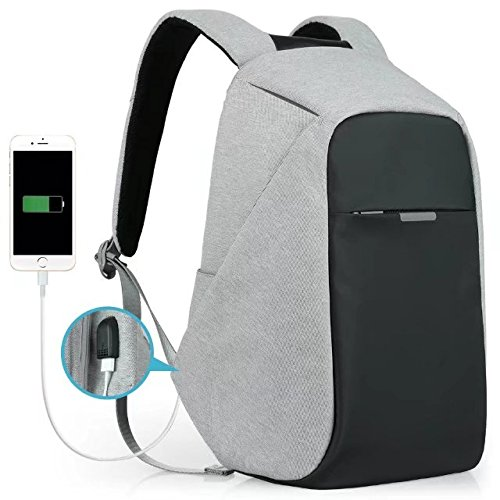 Oscaurt Anti-theft Travel Backpack Business Laptop Book School Bag with USB Charging Port for Student Work Men & Women