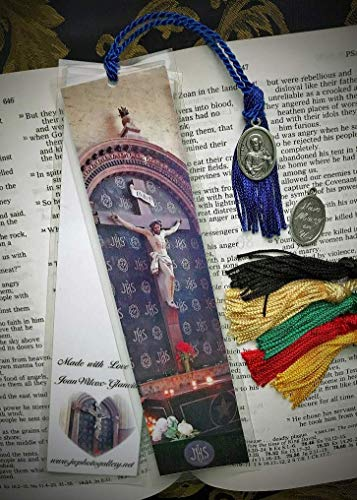 (Crucifixion of Jesus Christ our Savior Cross St Gatien Cathedral Loire Valley Tours France Religious Statue Europe Fine Art Photography Photo Laminated Handmade Catholic Bookmark w/Sacred Heart Medal)