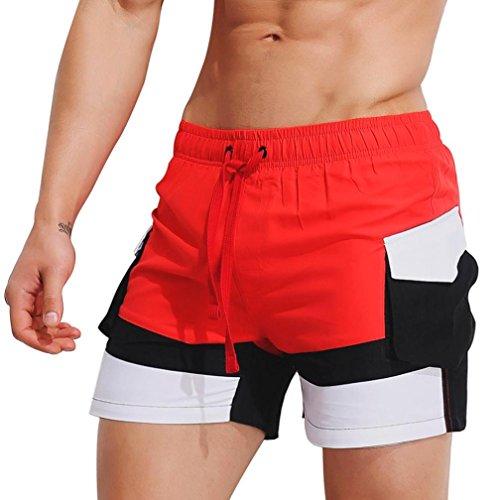 Price comparison product image BCDshop Mens Swim Trunks Sport Workout Casual Shorts Pants Swimwear Swimsuit Briefs (Red,  XL)