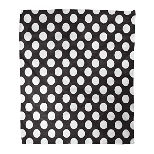 Golee Throw Blanket Poka Polka Dots White and Pattern Polkadot Abstract Antique Black 60x80 Inches Warm Fuzzy Soft Blanket for Bed - Fleece Dot Polka