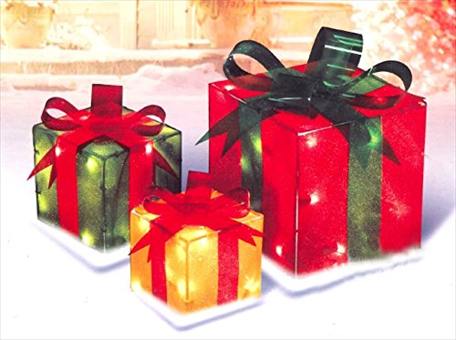 PENN 52-820-066 3-Piece Glistening Gift Box Lighted Christmas Yard Art Decoration Set by Penn