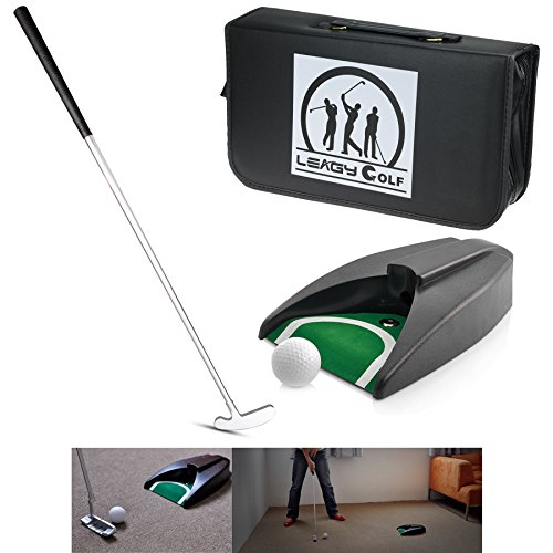 LEAGY Portable Golf Putter Travel Practice Putting Set with Case Indoor Outdoor Yard, Golfer Kids Toy Indoor Golf Games Set, Ball Return System Zink Alloy Putter Best Gift Executive Office - Cup Executive Putting
