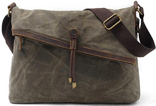Womens Leather Satchel Cross Body Shoulder Messenger Bag Green - 4