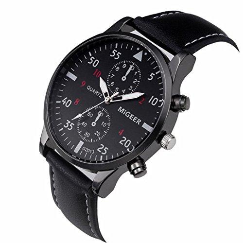 Hot Sale ! Auwer Mens Quartz Wristwatch, Retro Design Leather Band Analog Alloy Quartz Wrist Watch Clock (Black)