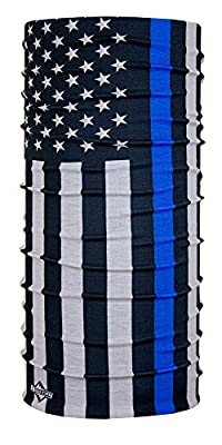 Thin Blue Line & Thin Red Line American Flag Bandana by Hoo-rag® - Multi-Use Face Mask & Neck Gaiter Shield - Seamless UV Protection Made Of 100% High Performance Moisture Wicking Polyester - Show Respect & Honor Police Law Enforcement Officers & Firefig