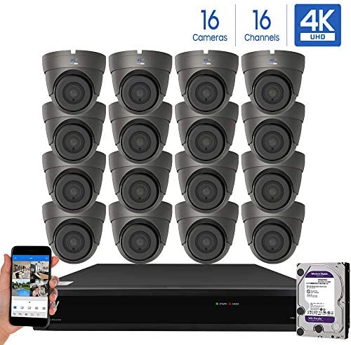 GW Security Cameras System 8CH 3840×2160 HD-TVI 4K CCTV DVR Recorder 2TB HDD with 4 Weatherproof 3840TVL 8.0MP 100ft Night Vision UltraHD 4K Dome Surveillance Cameras, Email Alert with Snapshot