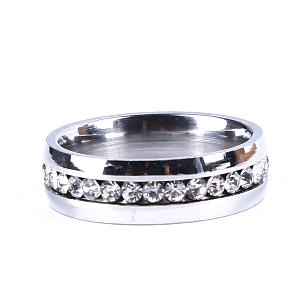 Myhouse Stainless Steel Rhinestone Ring For Couple Wedding Engagement Charm Accessories(Silver Color,10)
