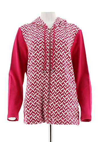 Susan Graver Printed French Terry Zip Jacket A287664, Passion Pink, XL